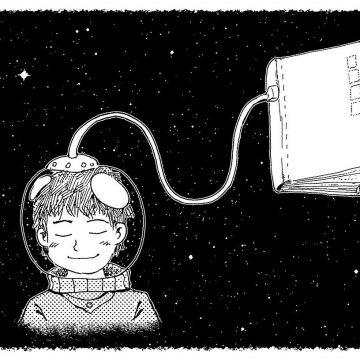 Un astronauta leyendo un libro